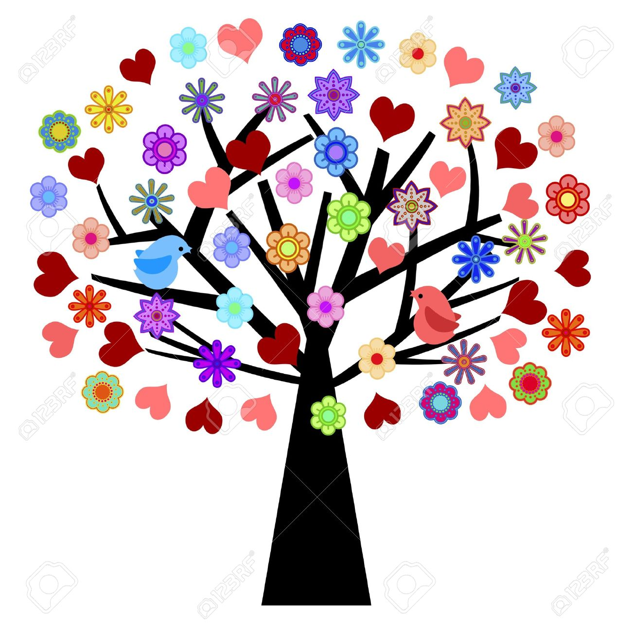 Valentines Day Tree With Love Birds Hearts Flowers Illustration