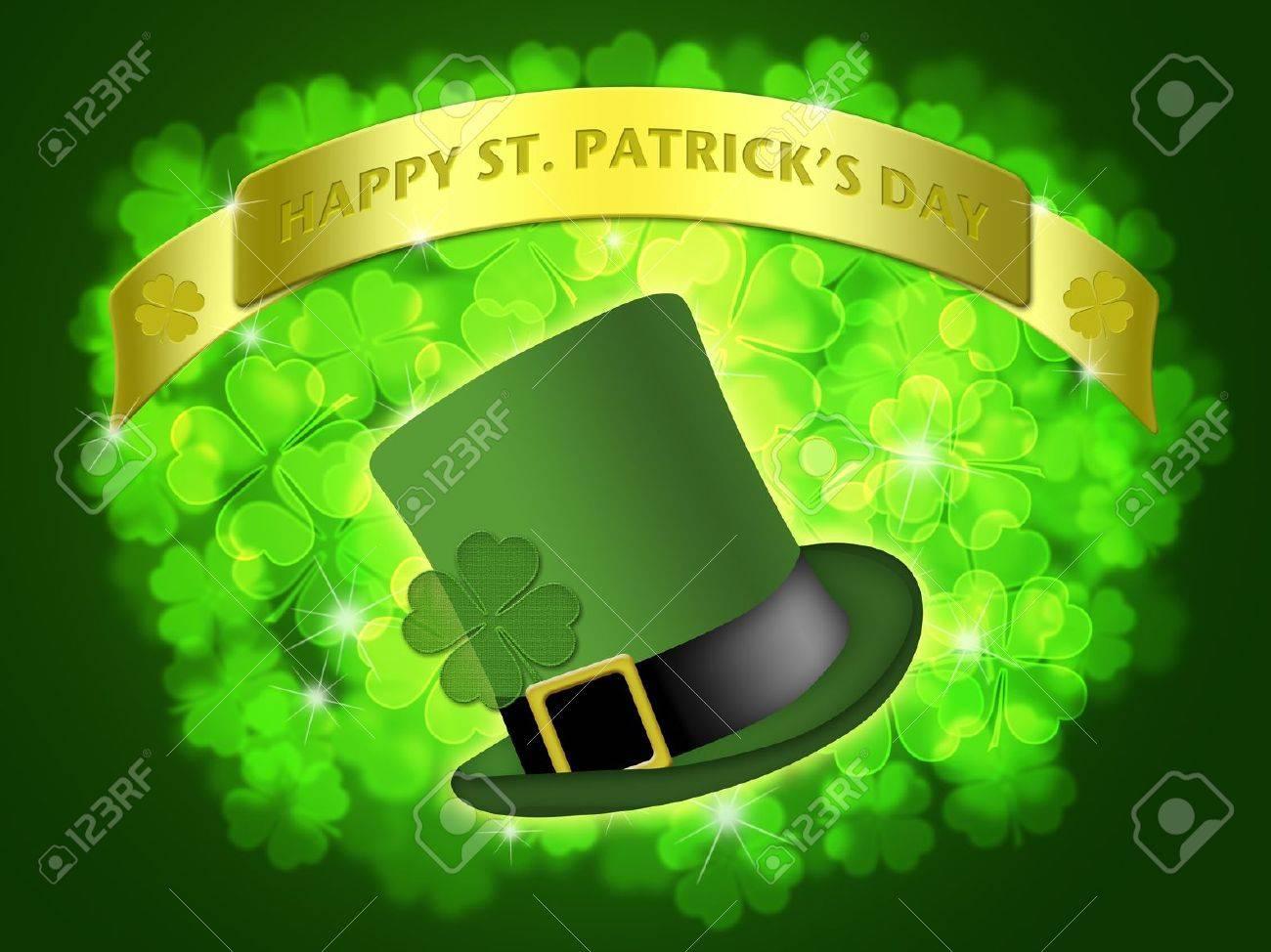 St Patricks Day Leprechaun Hat Banner with Shamrocks Bokeh Illustration Stock Photo - 8860968