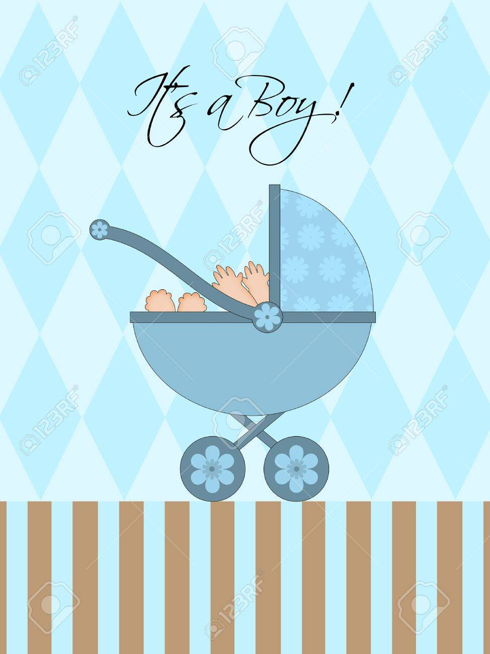 Its A Boy Blue Baby Pram Carriage with Background Illustration Stock Photo - 8860949