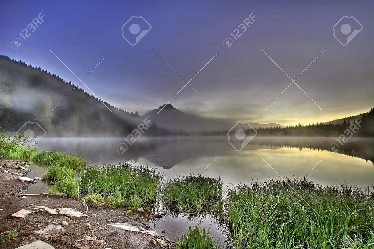 Foggy Sunrise at Trillium Lake with Mount Hood Oregon Stock Photo - 8937946