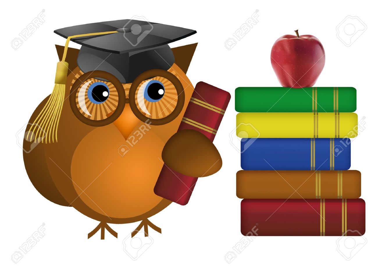 Wise Old Owl with Colorful Text Books Illustration Stock Photo - 8937949