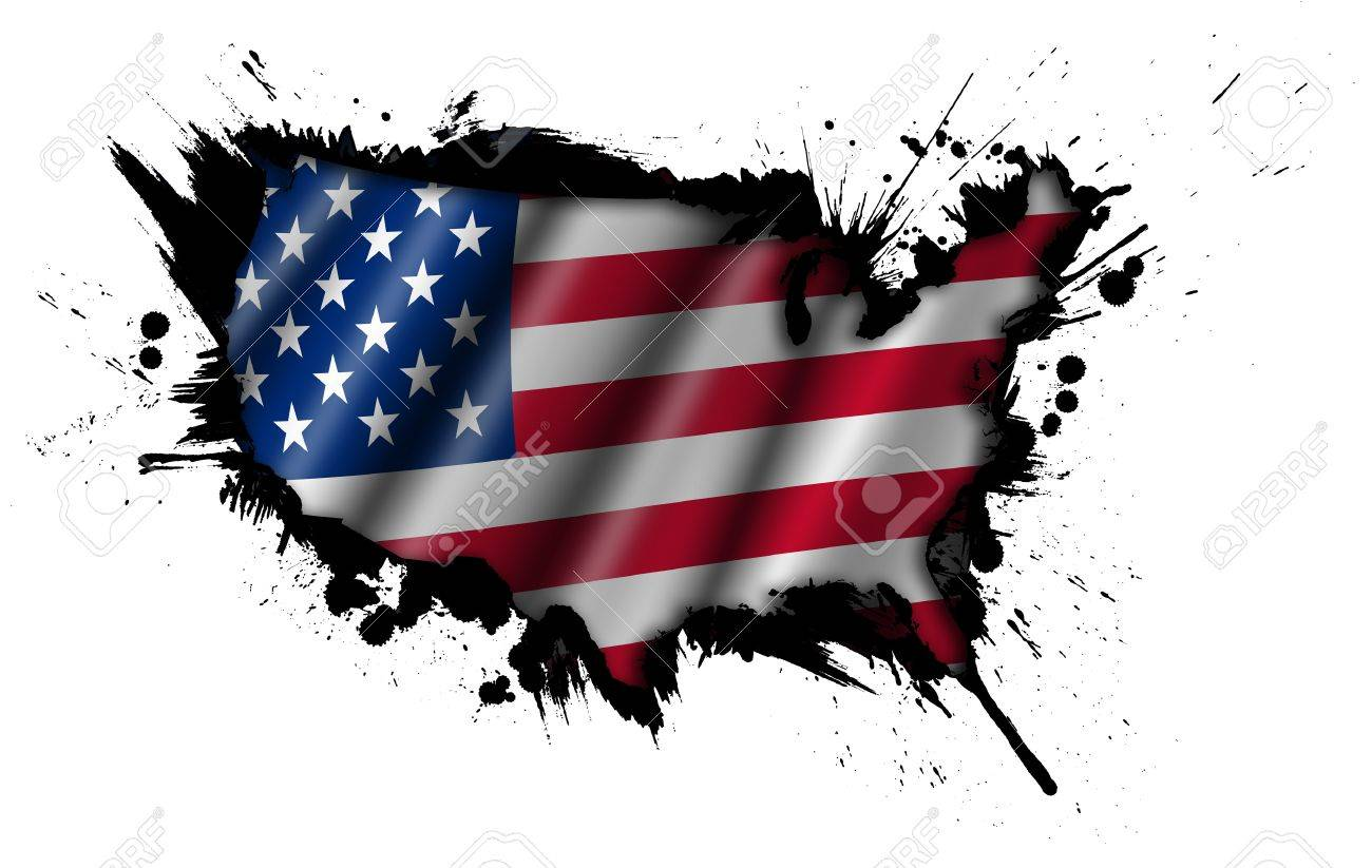 Grunge Map Of USA With American Flag Illustration Stock Photo - Us map american flag