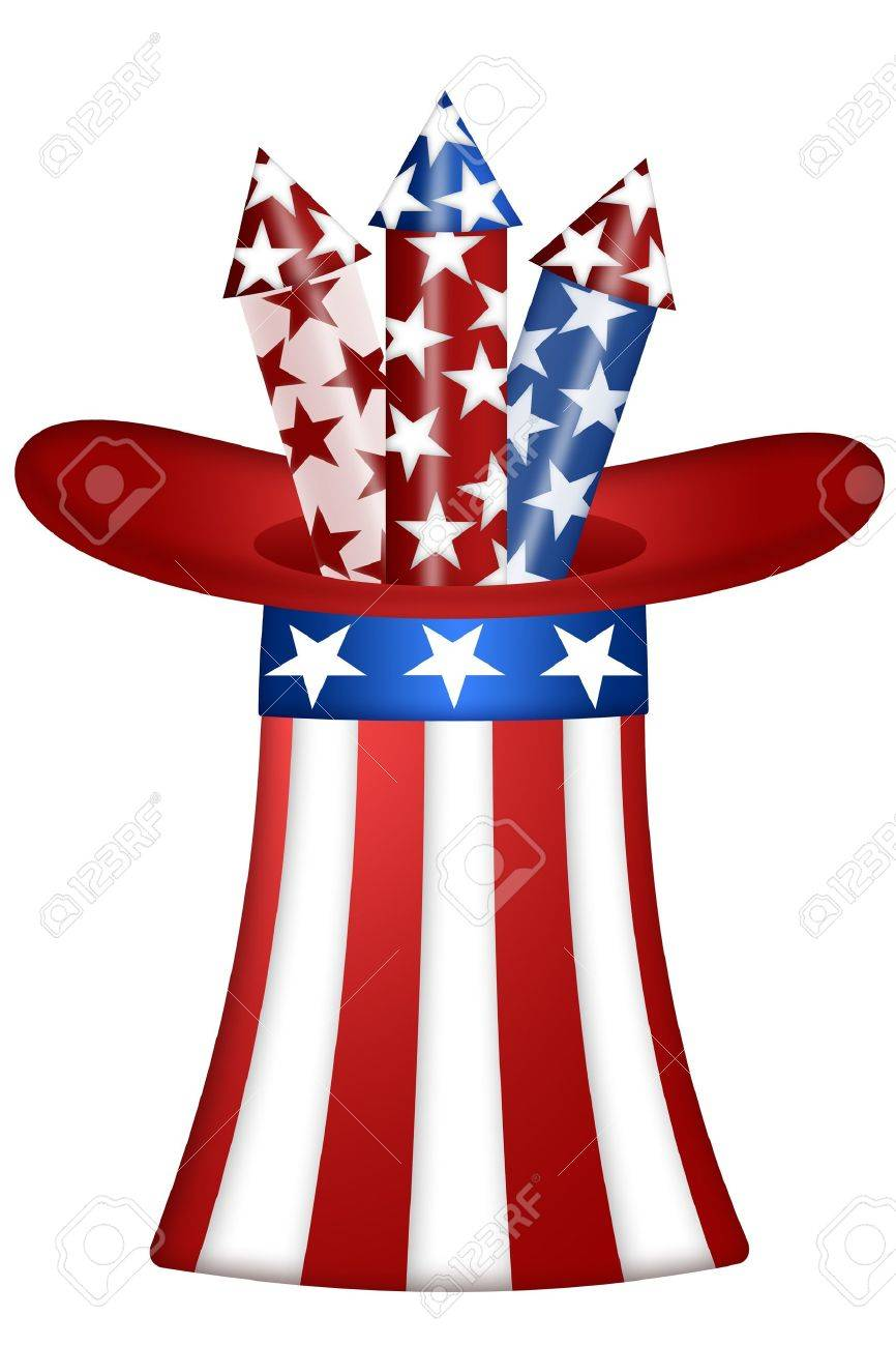 Uncle Sam Hat with Red White Blue Fireworks Illustration Stock Illustration - 8937982