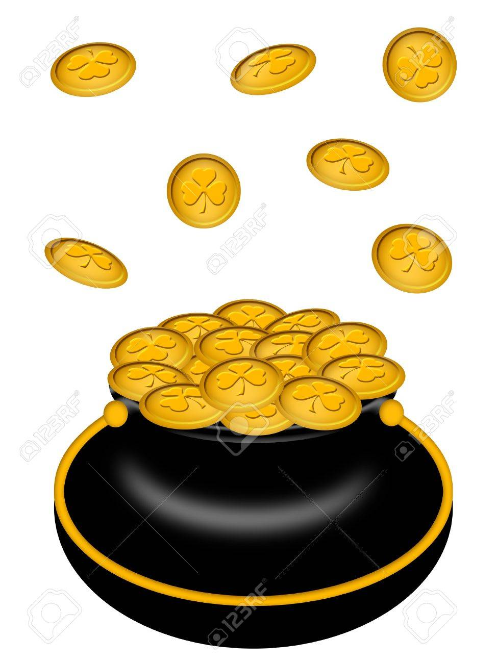 Saint Patricks Day Pot of Gold with Shamrock Coins Illustration Stock Illustration - 8937988