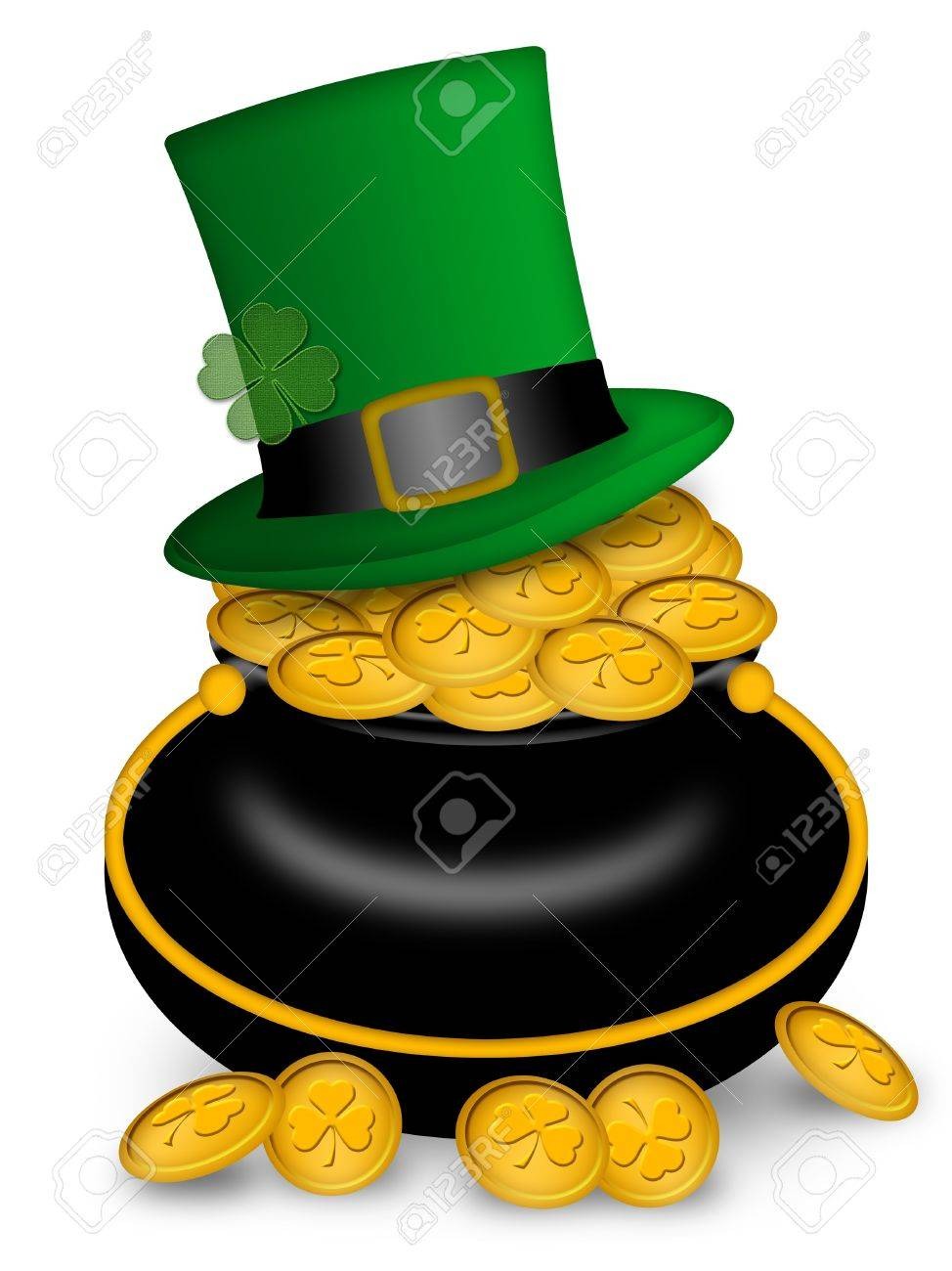 Green Pot Of Gold Clipart Hat on Pot of Gold Coins