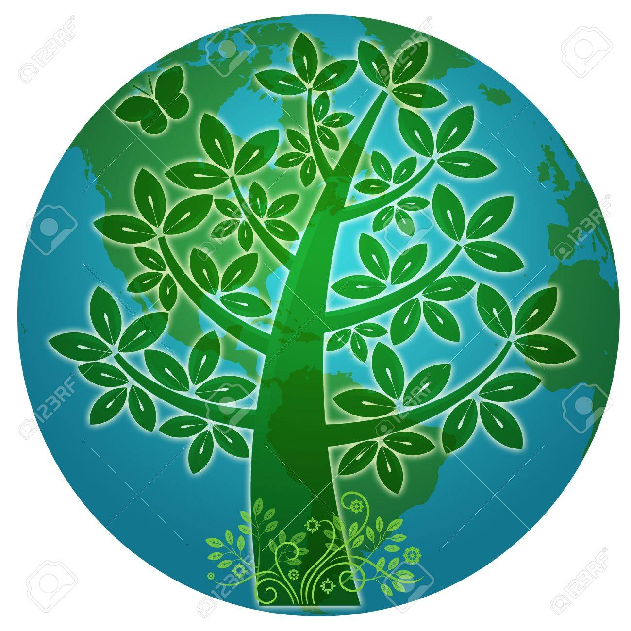 Blue Planet with Abstract Eco Tree Silhouette Illustration Stock Illustration - 8994908