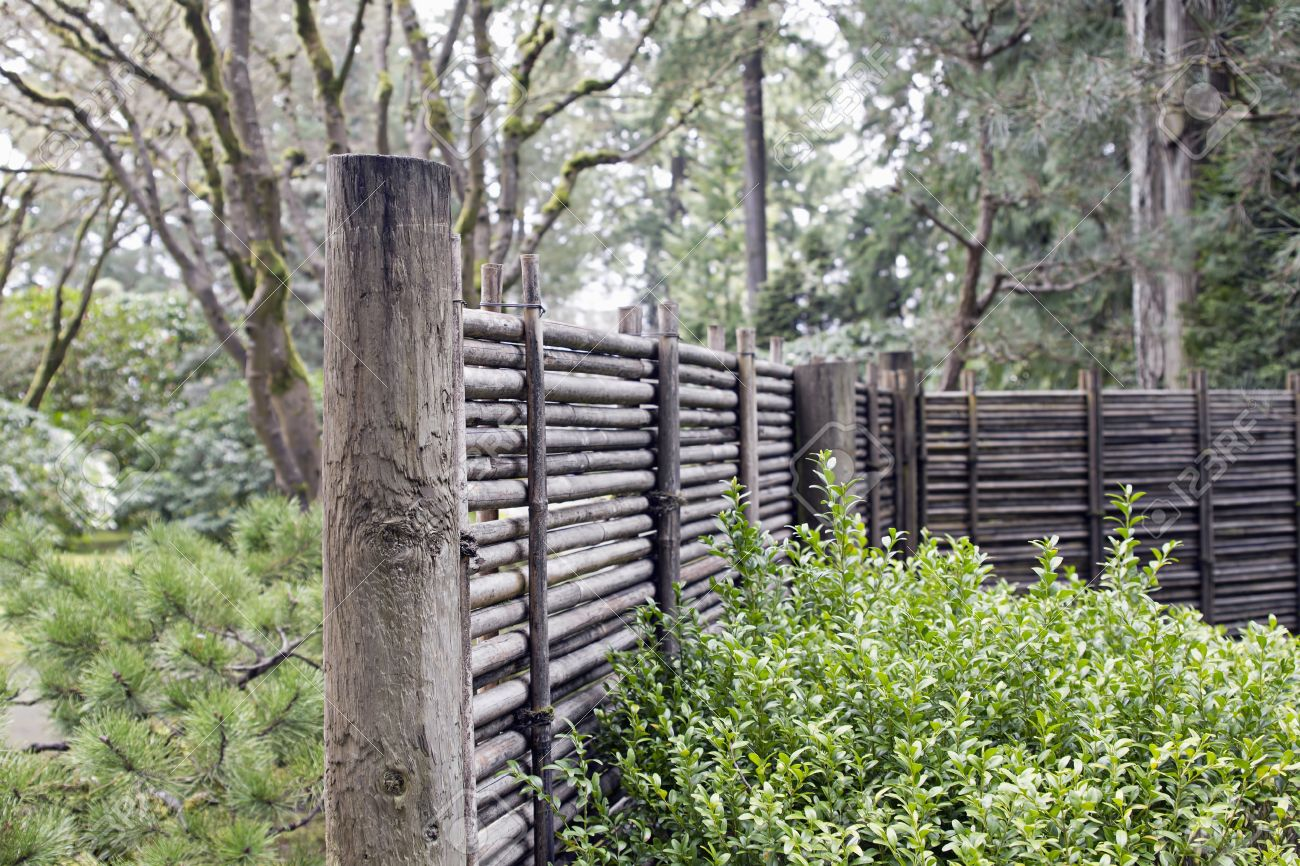 Wood And Bamboo Fencing At Portland Japanese Garden Oregon Stock Photo    9210633