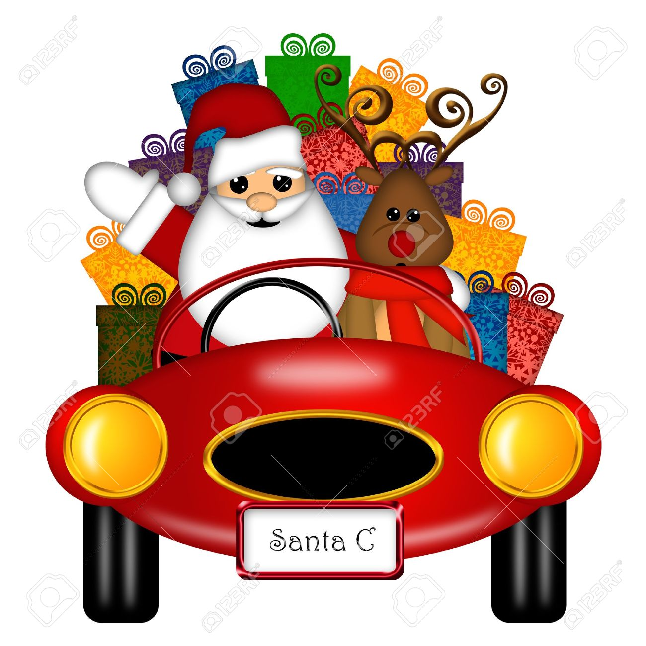 Santa Claus and Reindeer in Red Sports Car Delivering Presents Isolated on White Illustration Stock Photo - 11570766