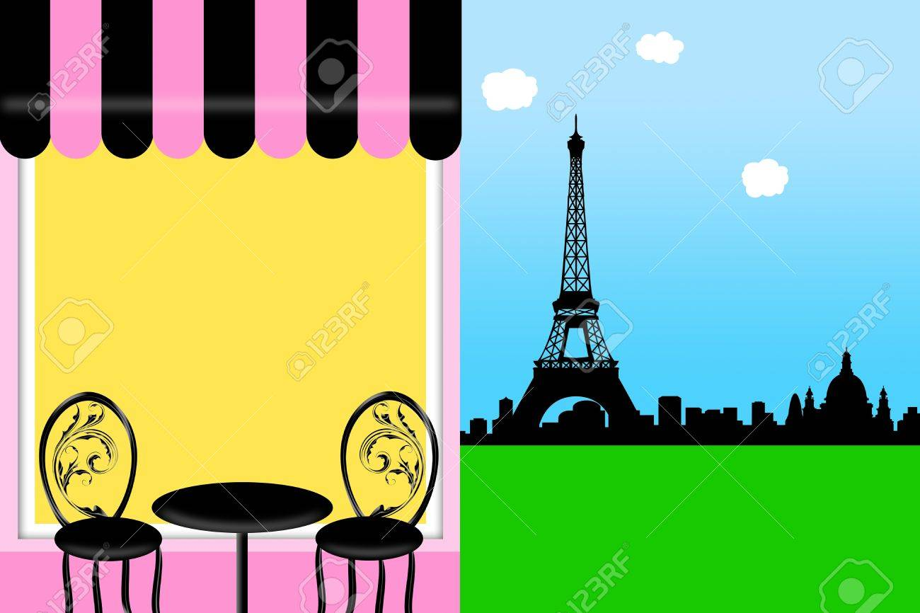Outdoor cafe in paris with tower in background - Bistro Table Cafe Bistro In Paris Outside Seating With Eiffel Tower Skyline Illustration