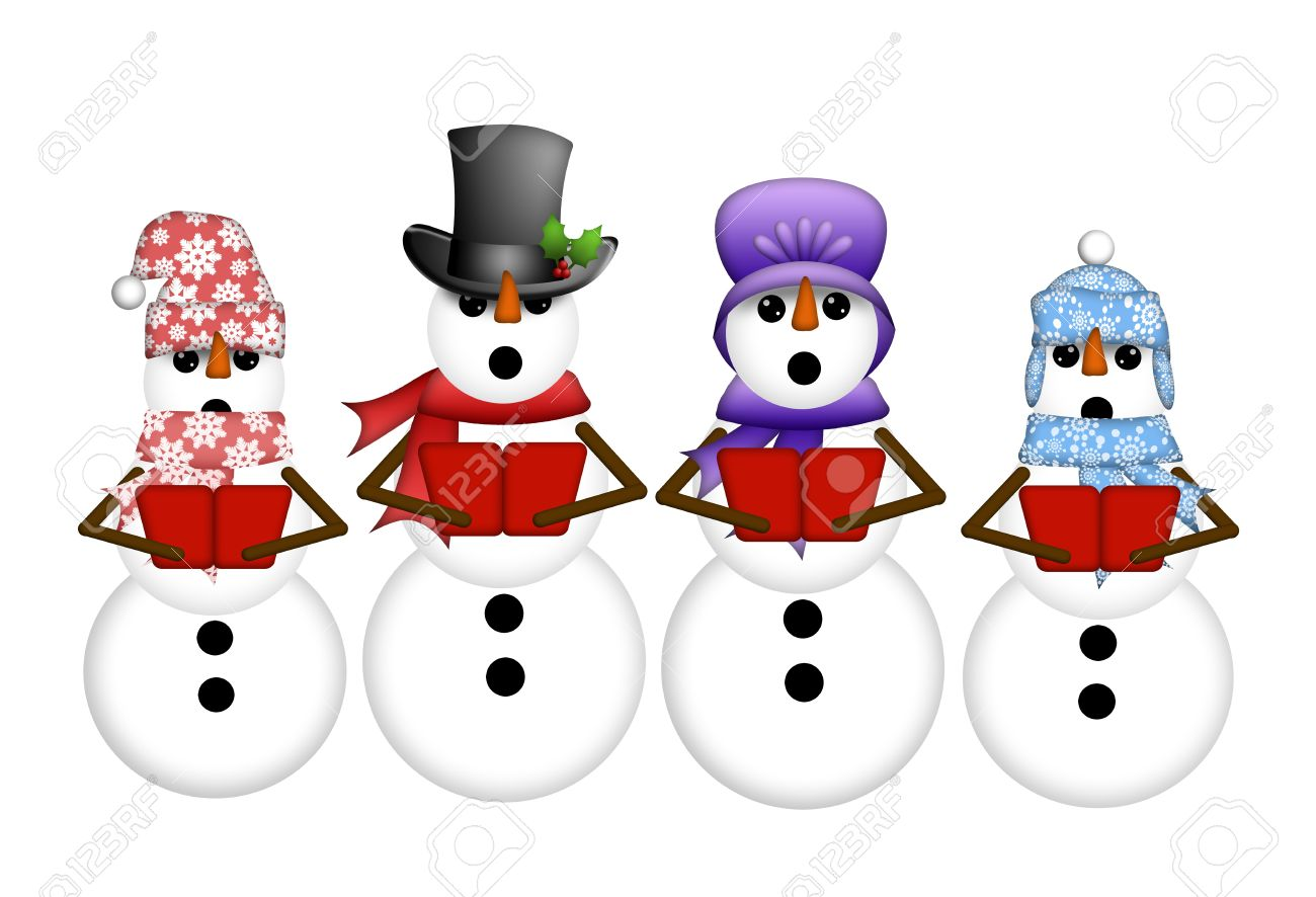 Snowman Carolers Singing Christmas Songs Illustration Isolated on White Background Stock Photo - 11582185