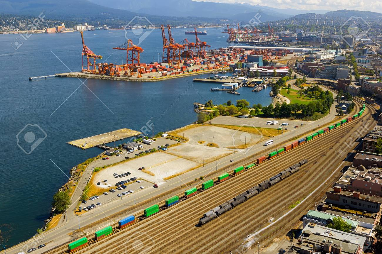 port of vancouver british columbia canada with containers shipyard