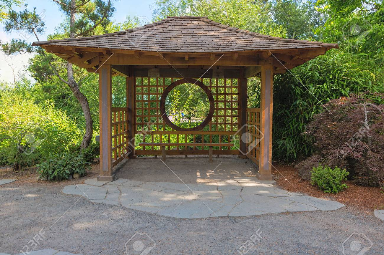 Gazebo In Tsuru Island Japanese Garden In Gresham Oregon Main ...