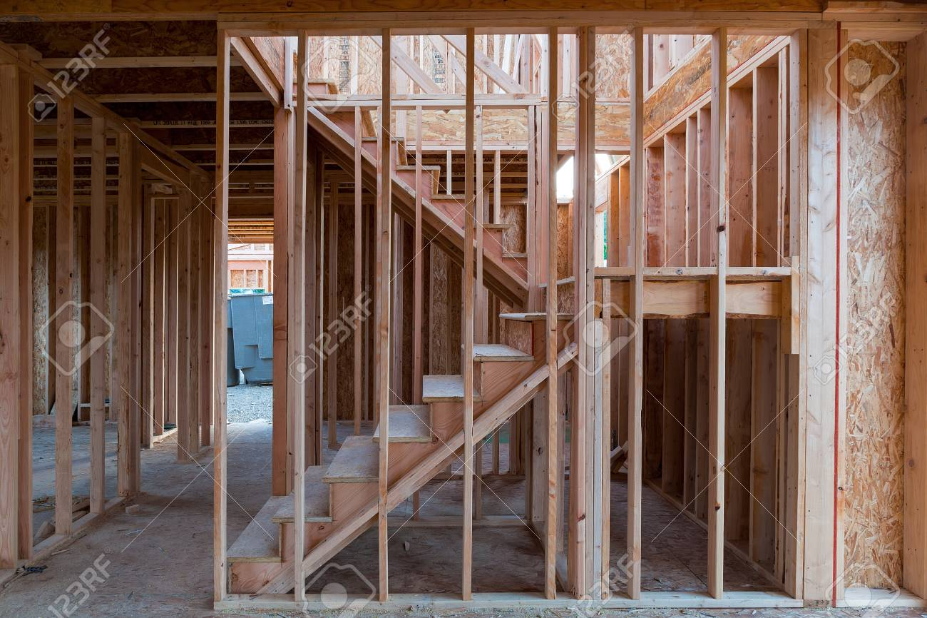 New Home Construction Interior Wood Stud Framing Ceiling Beams ...
