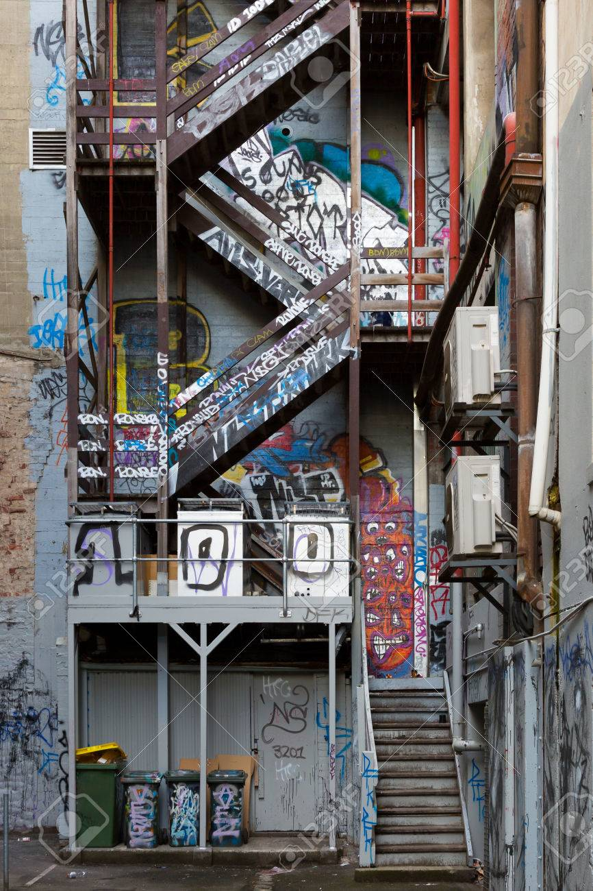 Exterior Fire Escape Stairs Covered In Melbourne Famous Graffiti In Hosier  Lane. Stock Photo