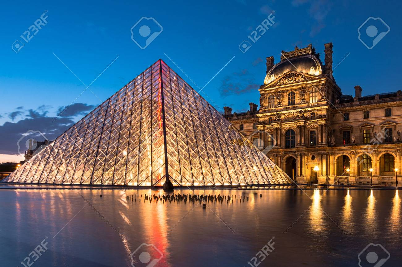 The Louvre, Paris, At Twilight, One Of The Major Tourist ...