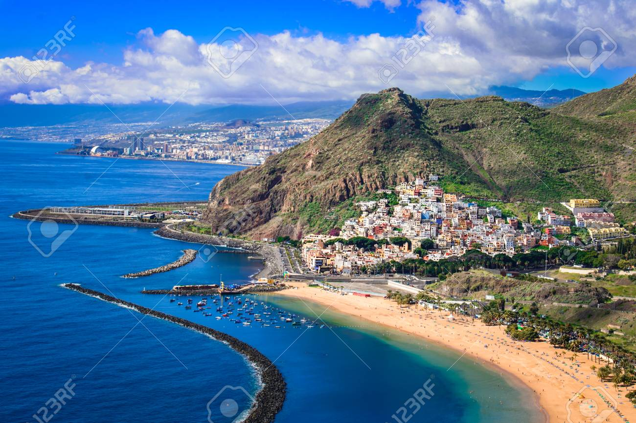 Las Teresitas, Tenerife,Canary islands,Spain: Playa de Las Teresitas, a famous beach near Santa Cruz de Tenerife with scenic San Andres village - 97290148