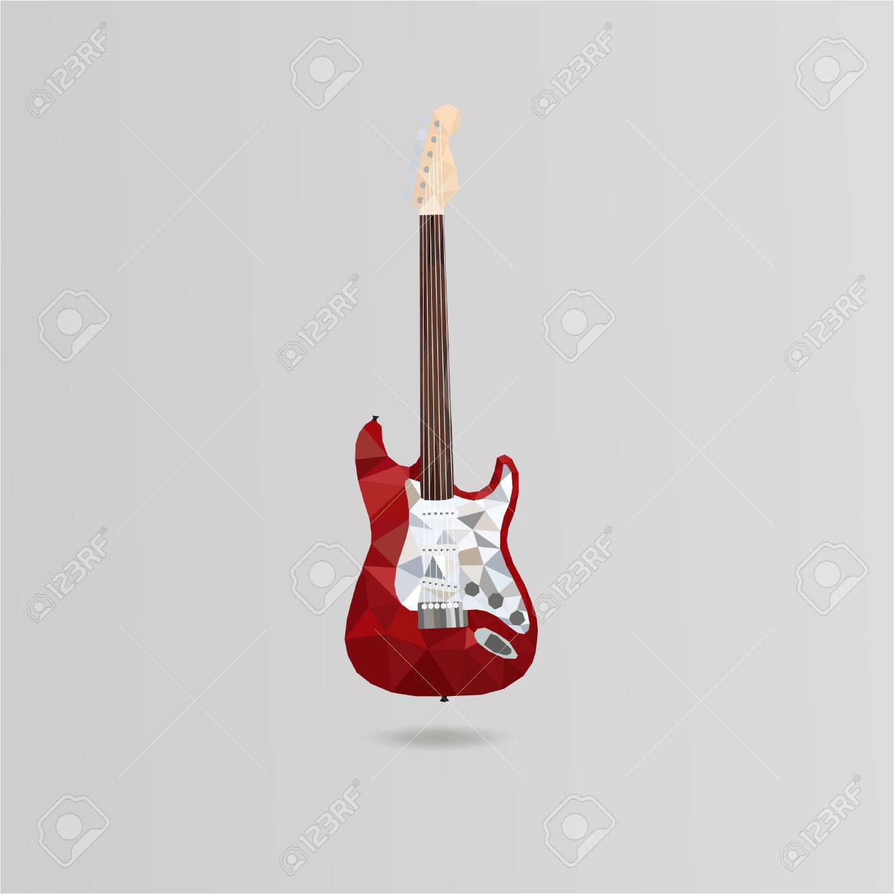 Illustration Icon Electric Guitar In Style Low Poly Basic