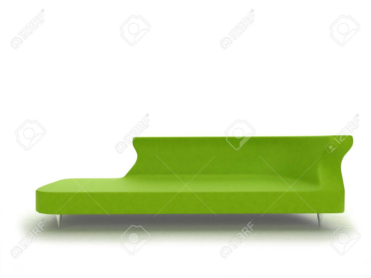3d render of modern green sofa isolated on white stock photo
