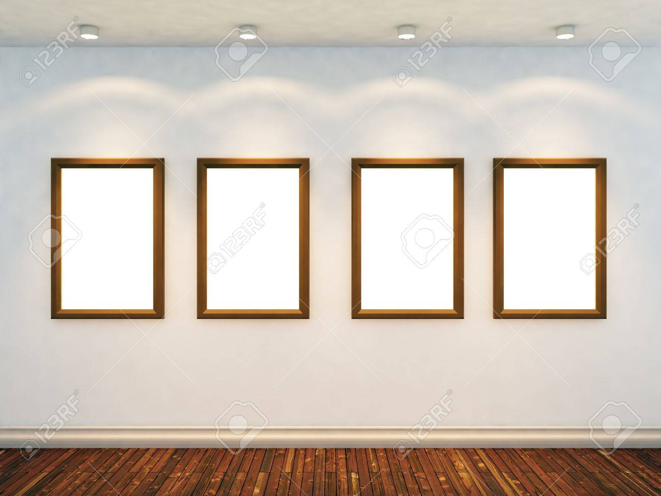 3d render of empty room with four empty frames and four spot lights stock photo