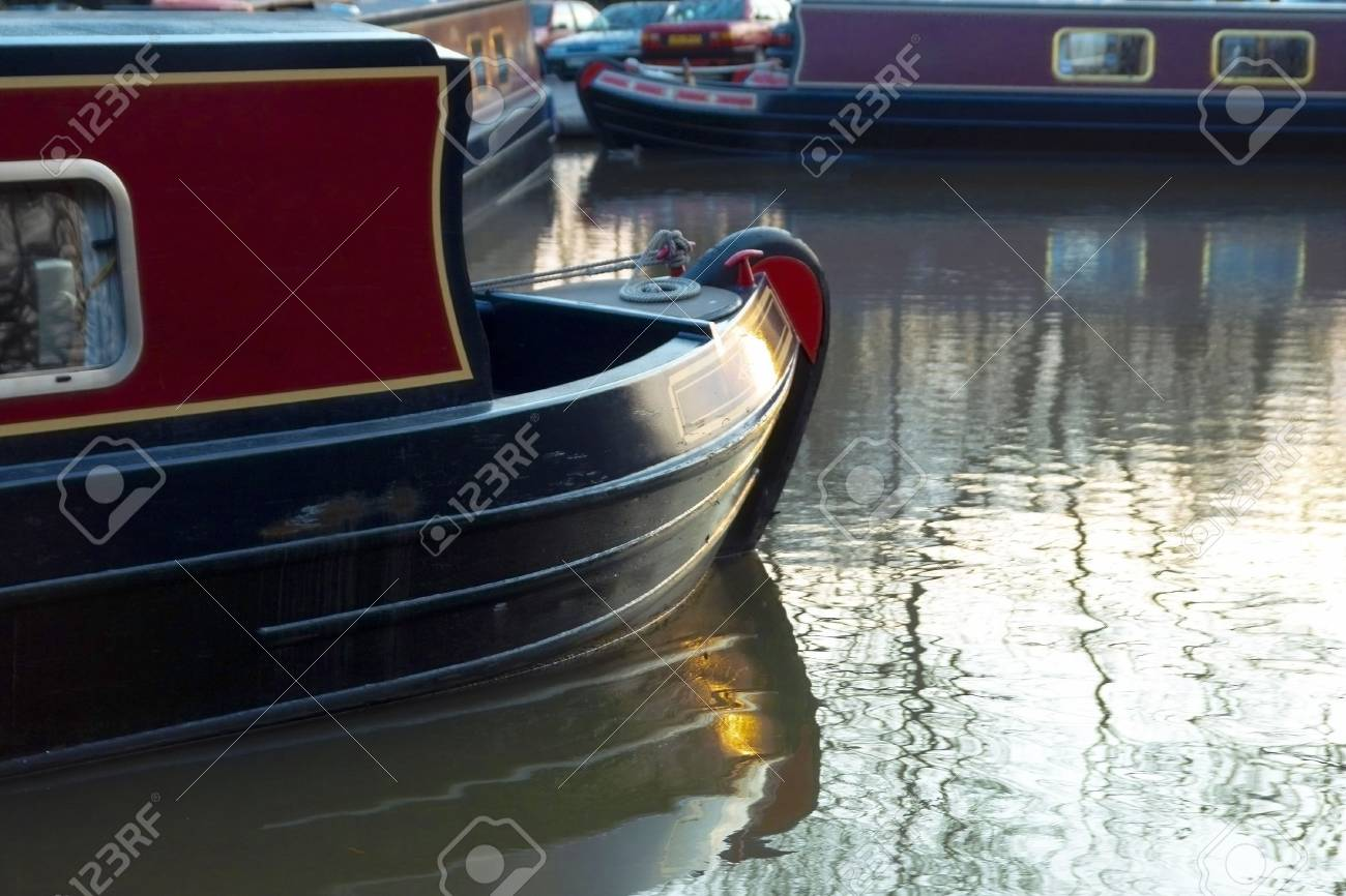 A narrow boat or barge on the worcester and birmingham canal at stoke prior Worcestershire. Stock Photo - 2302613