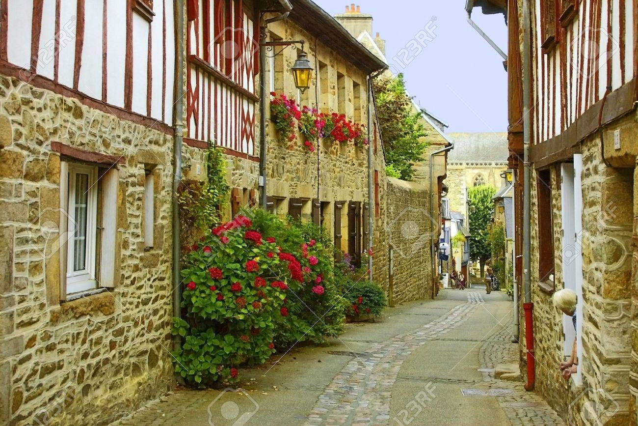 Traditional French Houses And Streets In The Town Of Treguier Stock