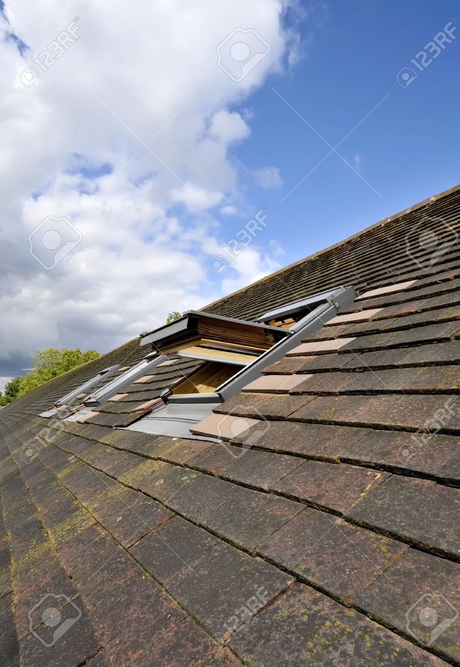 Windows in the roof of a house Stock Photo - 3567126