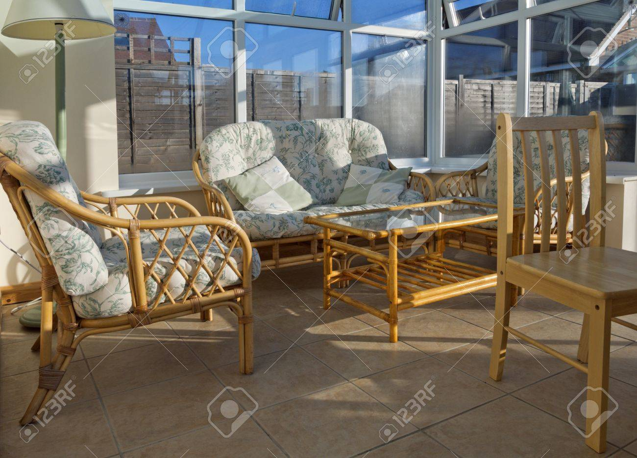 Conservatory Tables Chairs Plants Room In House Next To Garden Stock Photo    15433572