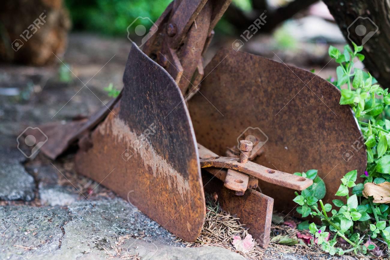Plow in the garden