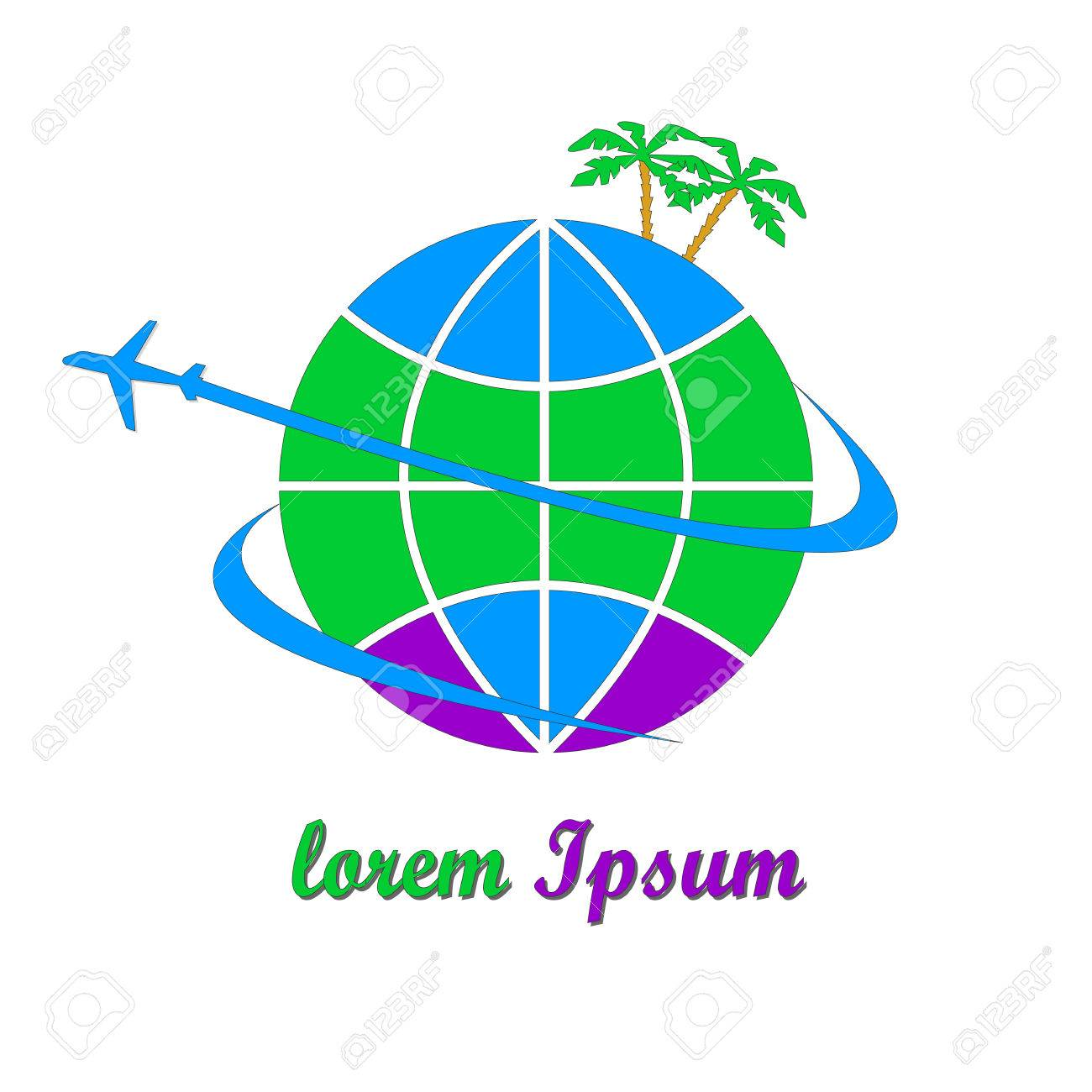 This Logo Was Created For The Travel Company The Logo Depicts The Planet Earth A Plane And Palm Trees Royalty Free Cliparts Vetores E Ilustracoes Stock Image 66299273