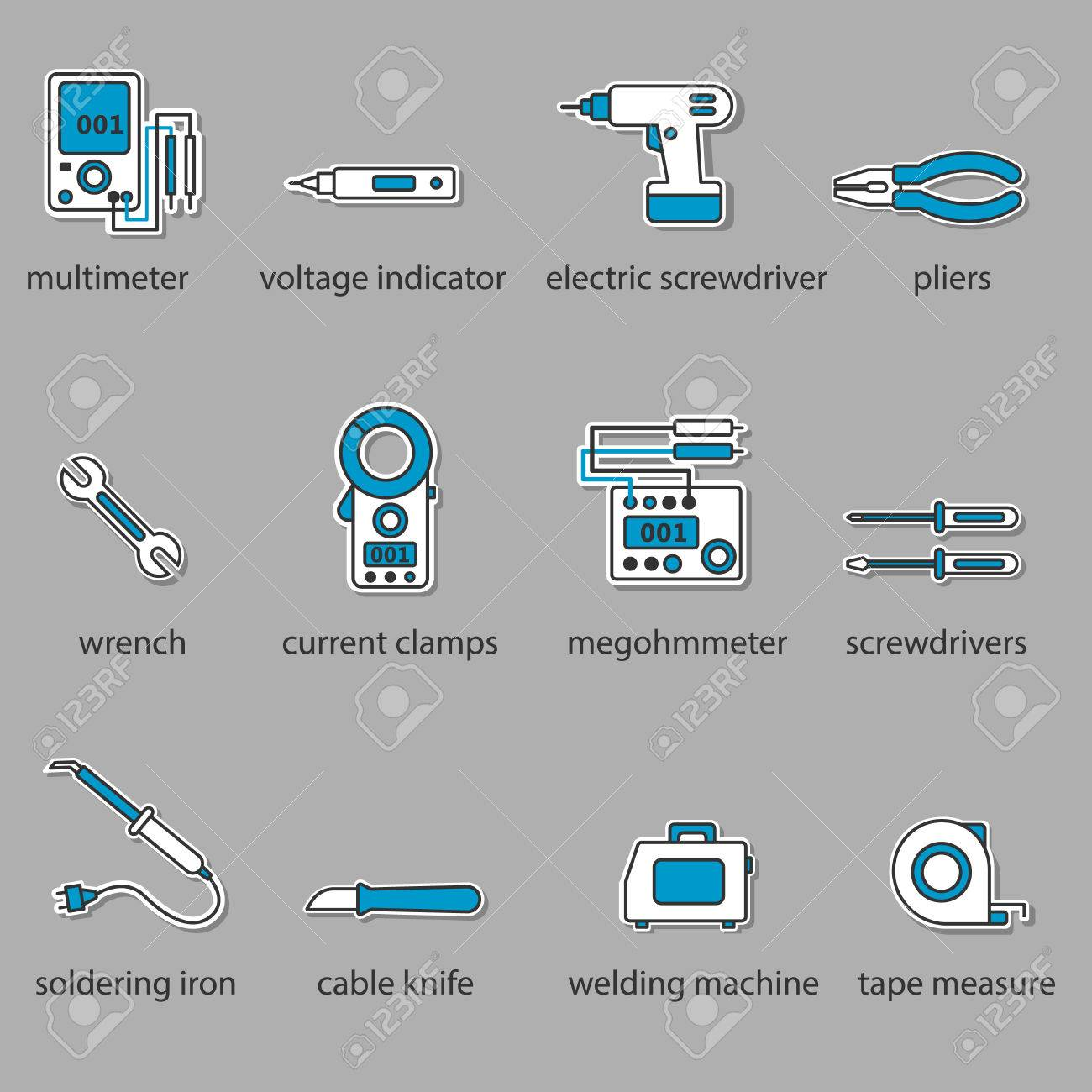 The Electricians Tools Icon Set. This Is A Set Of Icons For ...