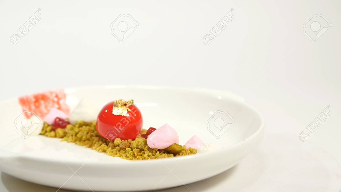 Dessert On The Plate On White Background Beautiful Delicious Stock Photo Picture And Royalty Free Image Image 86269533