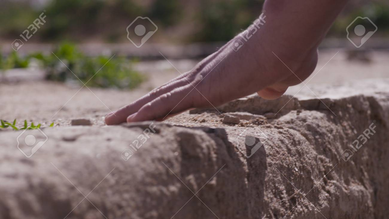 Hand Touch Stone Wall  Hand Mans Touches The Stone Wall  Man