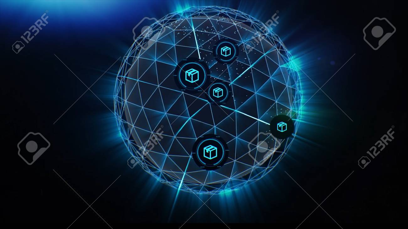 Plexus Sphere explodes into particles and polygons connecting lines in network. Exchange of goods and services worldwide. Abstract geometric composition from chaotic slow moving dots and lines are placed in the sphere. - 104739795