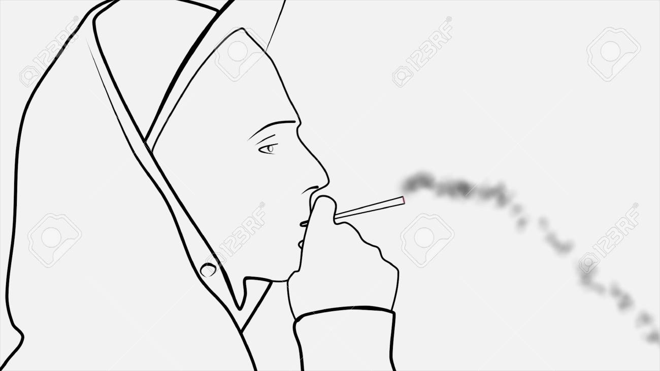 Silhouette Of An Abstract Young Man In Cap And Hood With Cigarette Stock Photo Picture And Royalty Free Image Image 114923245