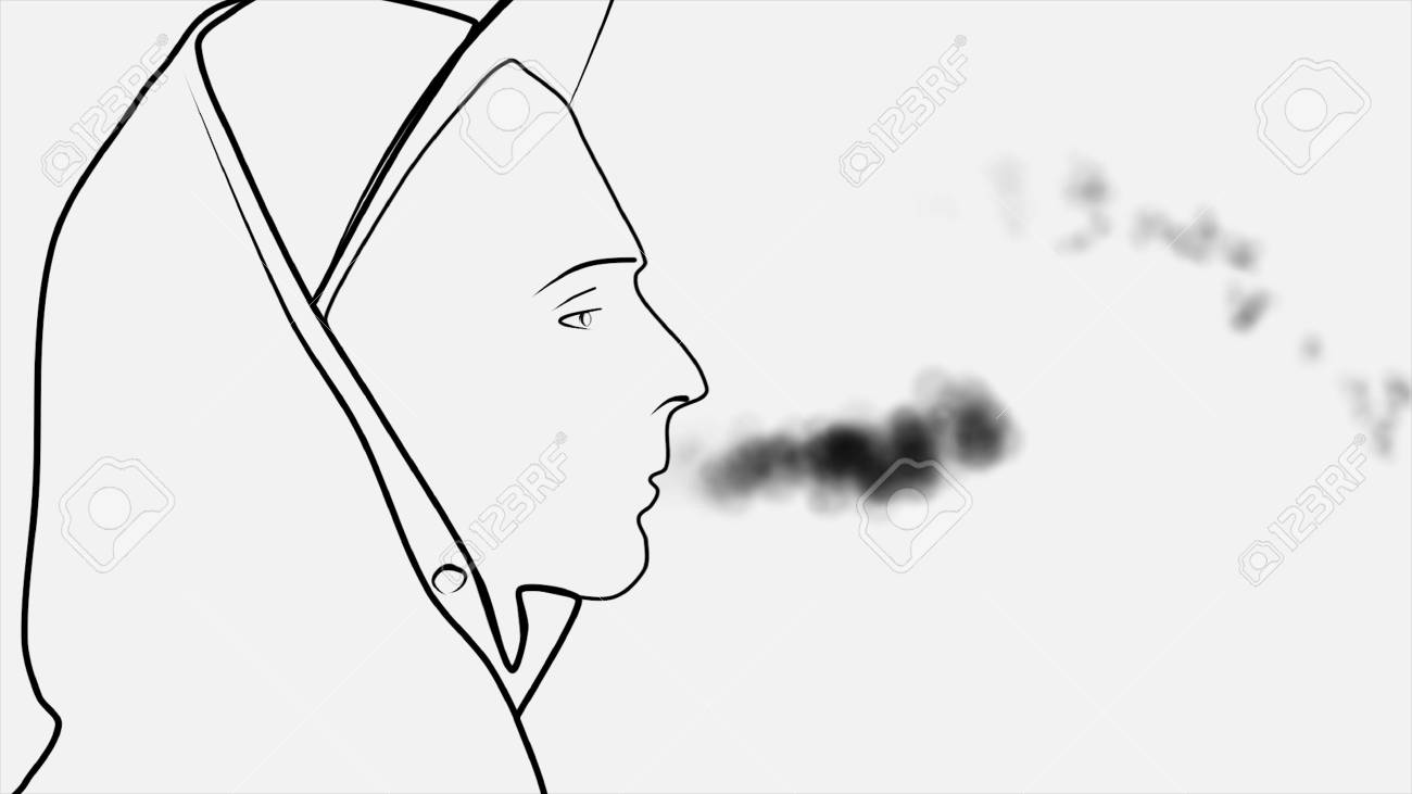 Silhouette Of An Abstract Young Man In Cap And Hood With Cigarette Stock Photo Picture And Royalty Free Image Image 114923315