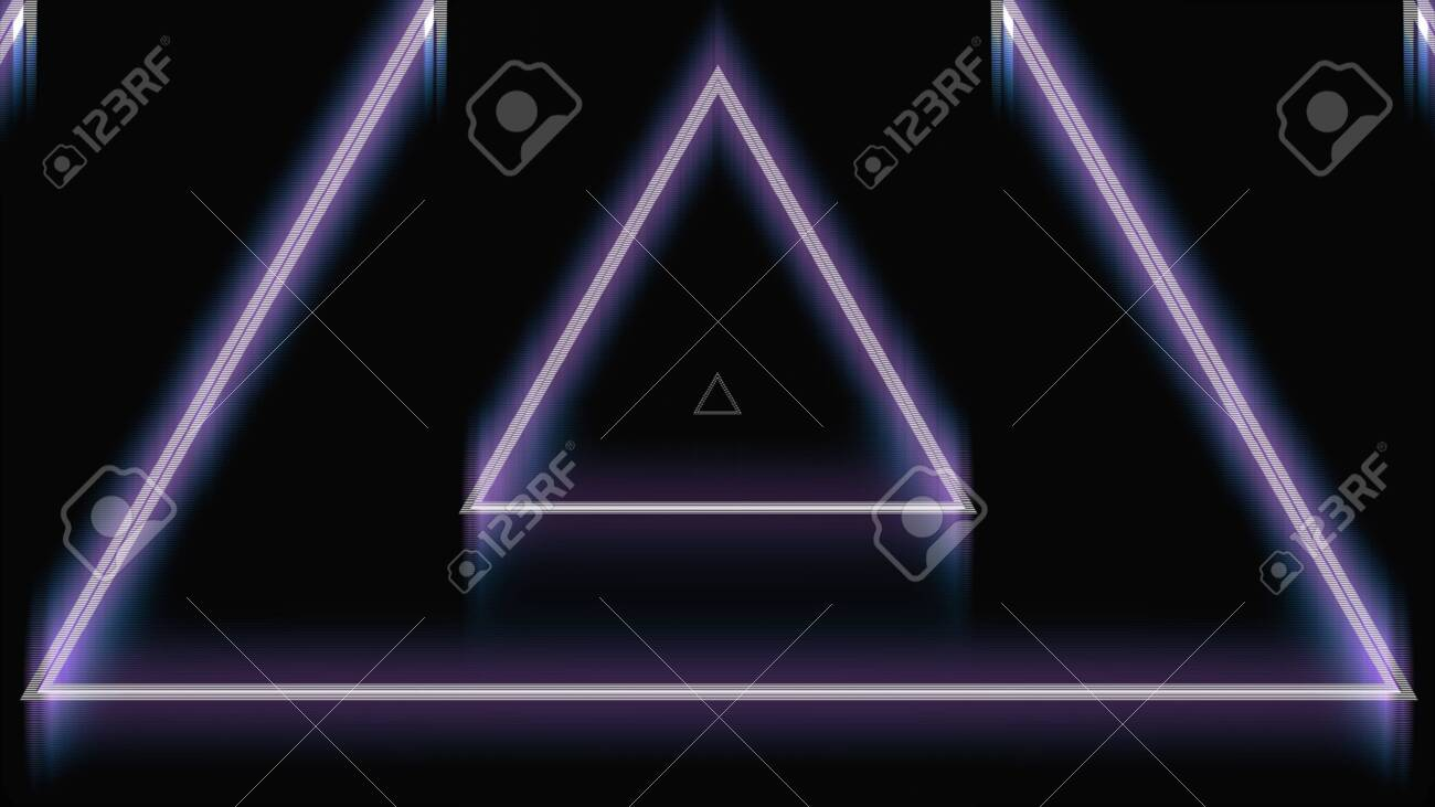Beautiful abstract triangle tunnel with neon light lines moving