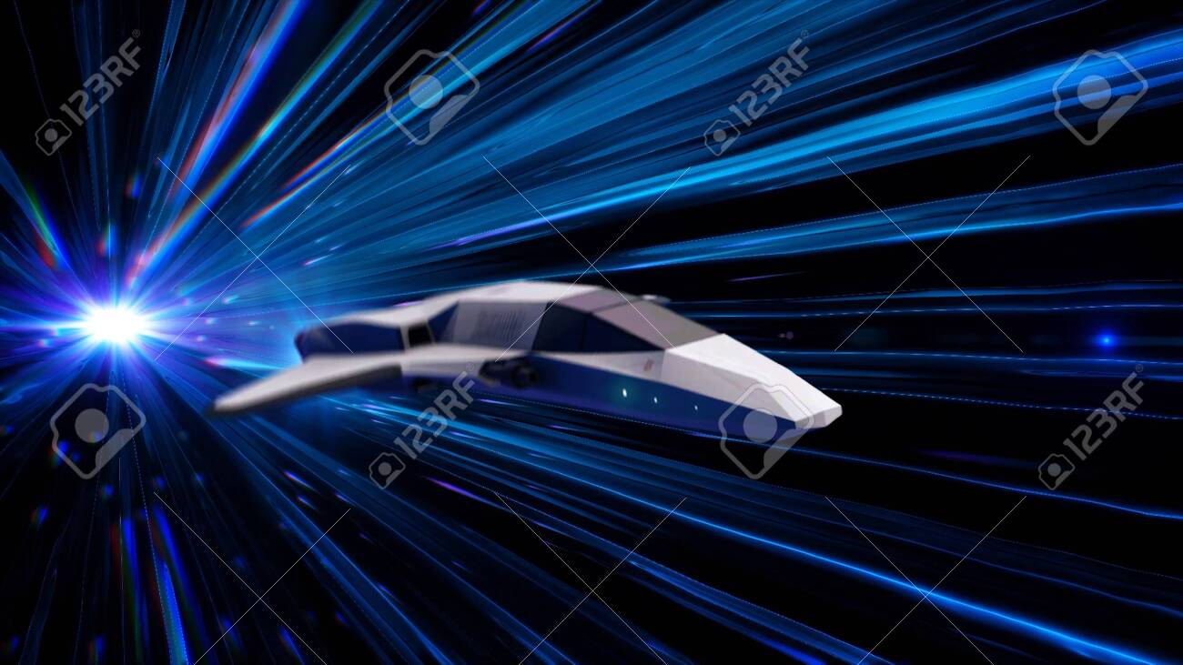 Futuristic tunnel with blue neon light rays and a space ship
