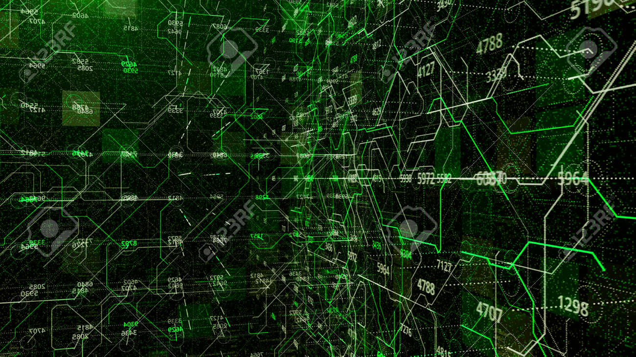 Connections and numbers inside matrix. Animation. Set of numbers and values on background of cybernetic moving lines. Inside numerical relations and fields in diverse matrix system - 169163176