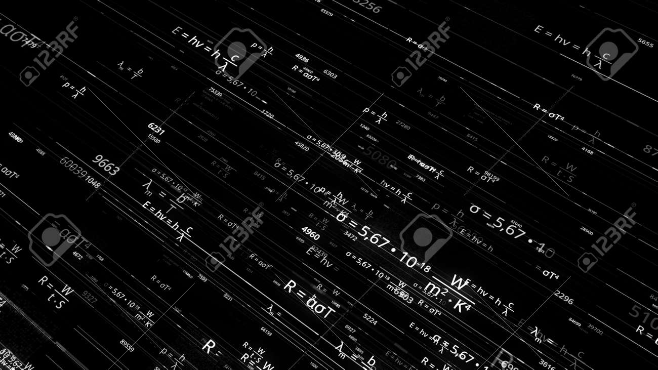 Lines with mathematical equations on black background. Animation. Glowing mathematical formulas in cyberspace. Mathematical formulas change and move on lines in electronic space - 169163115