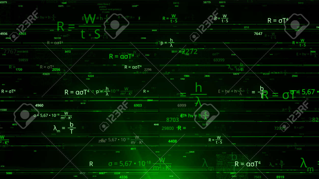 Many of mathematical formulas in matrix. Animation. Matrix network with changing mathematical equations. Cybernetic field with mathematical equations - 169163118