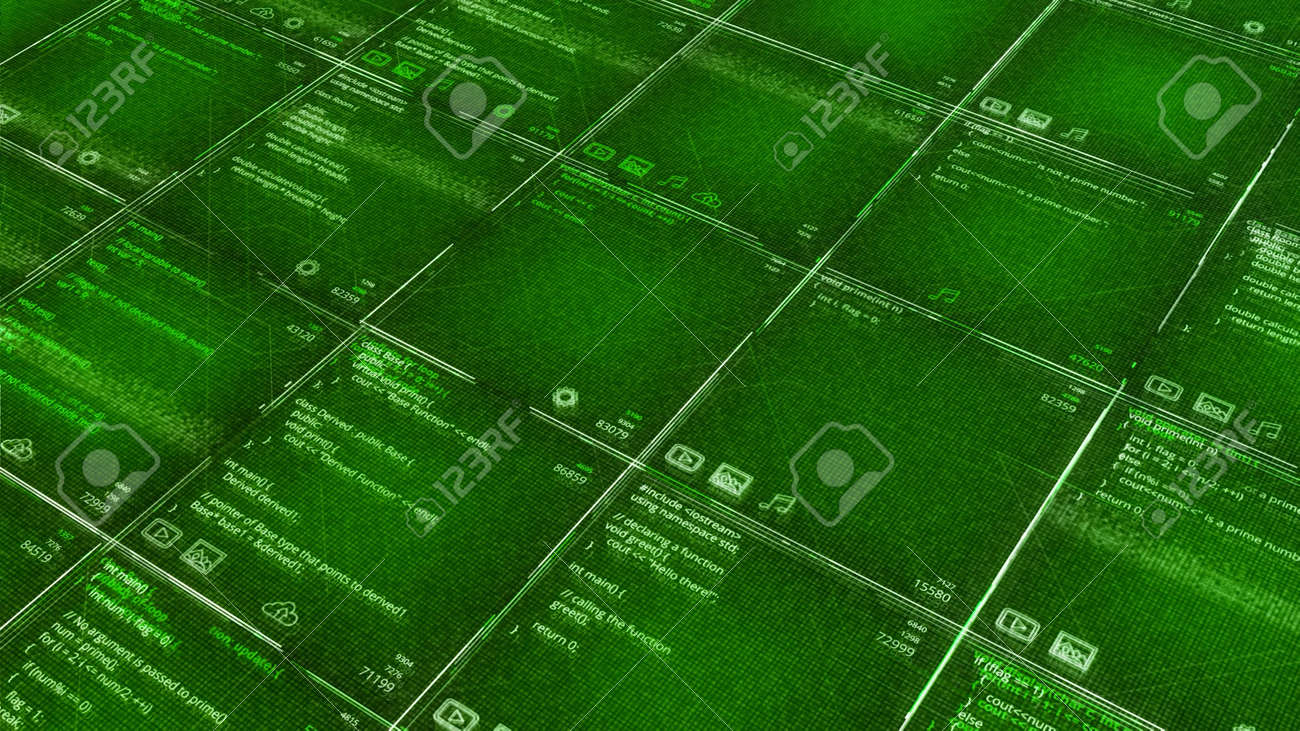 Green background with program codes in table. Animation. Computer futuristic background with appearing program codes in cells. Table or cells with matrix code - 170191190