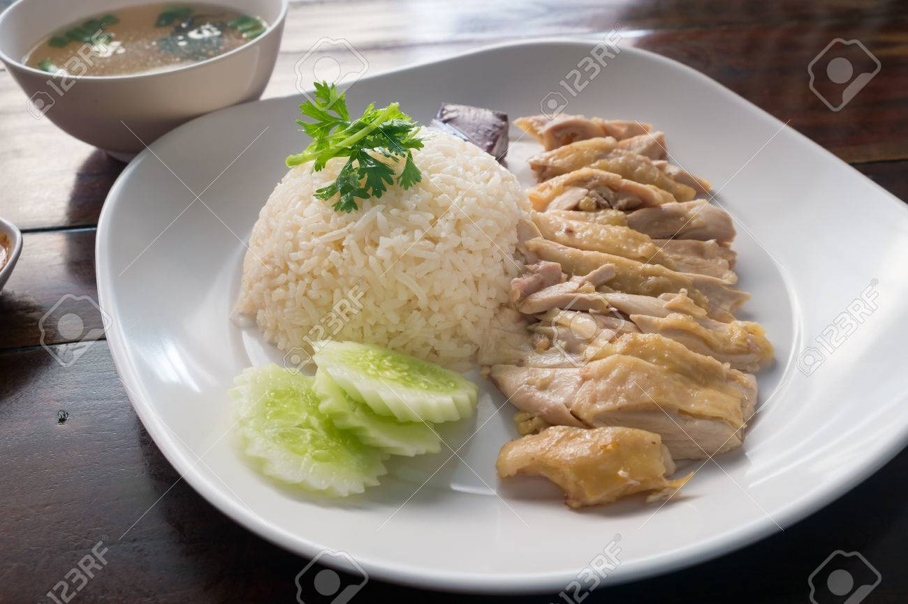 Hainanese Chicken Rice With Sauce And Soup Stock Photo 40013645