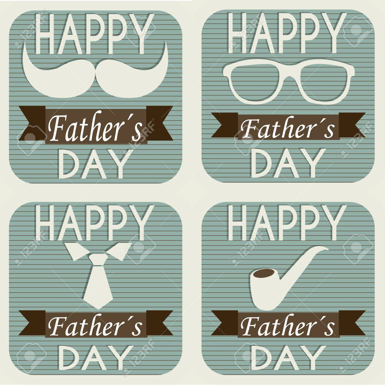 different father's day symbol on squares with special background Stock Vector - 21802611