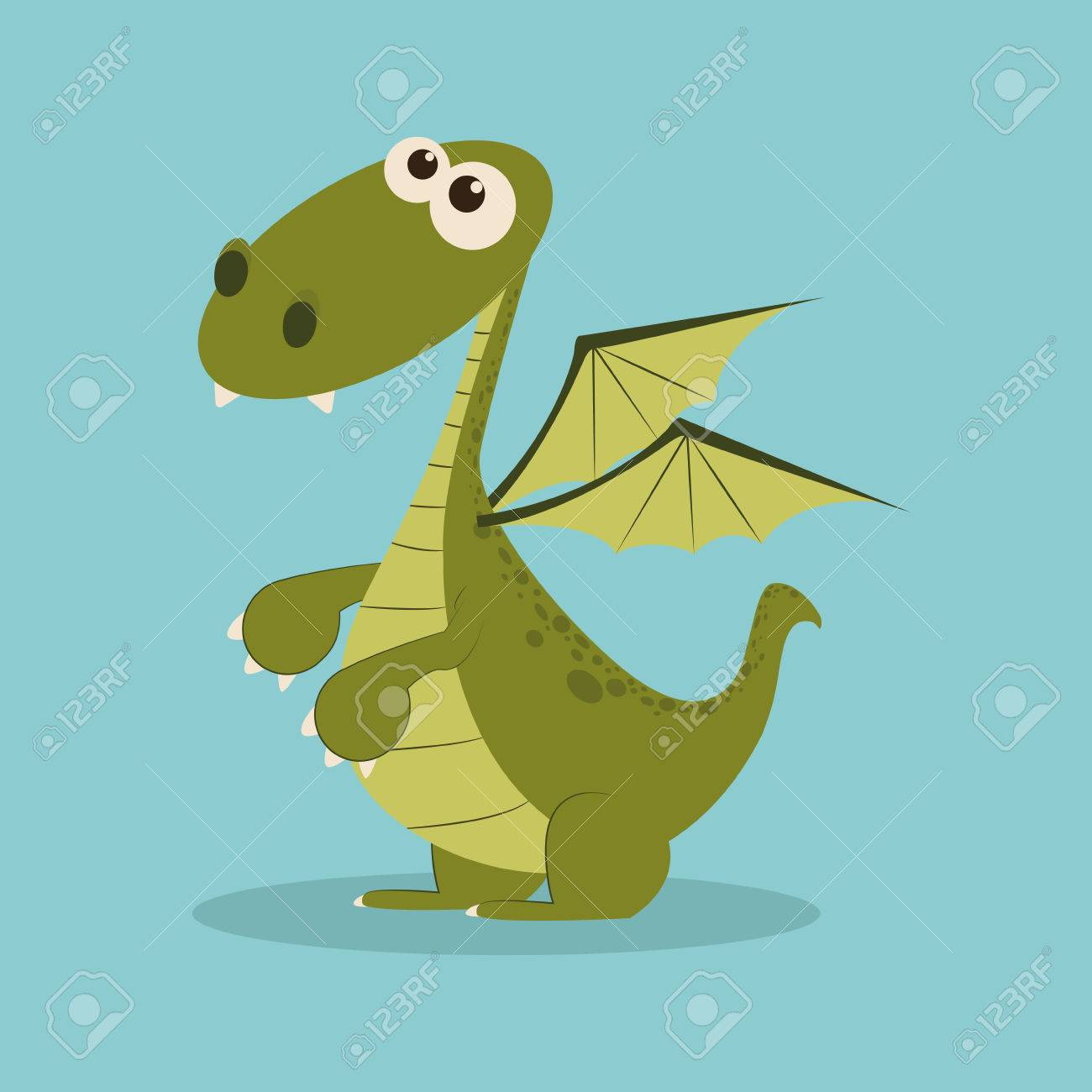 abstract cute dragon on a blue background royalty free cliparts
