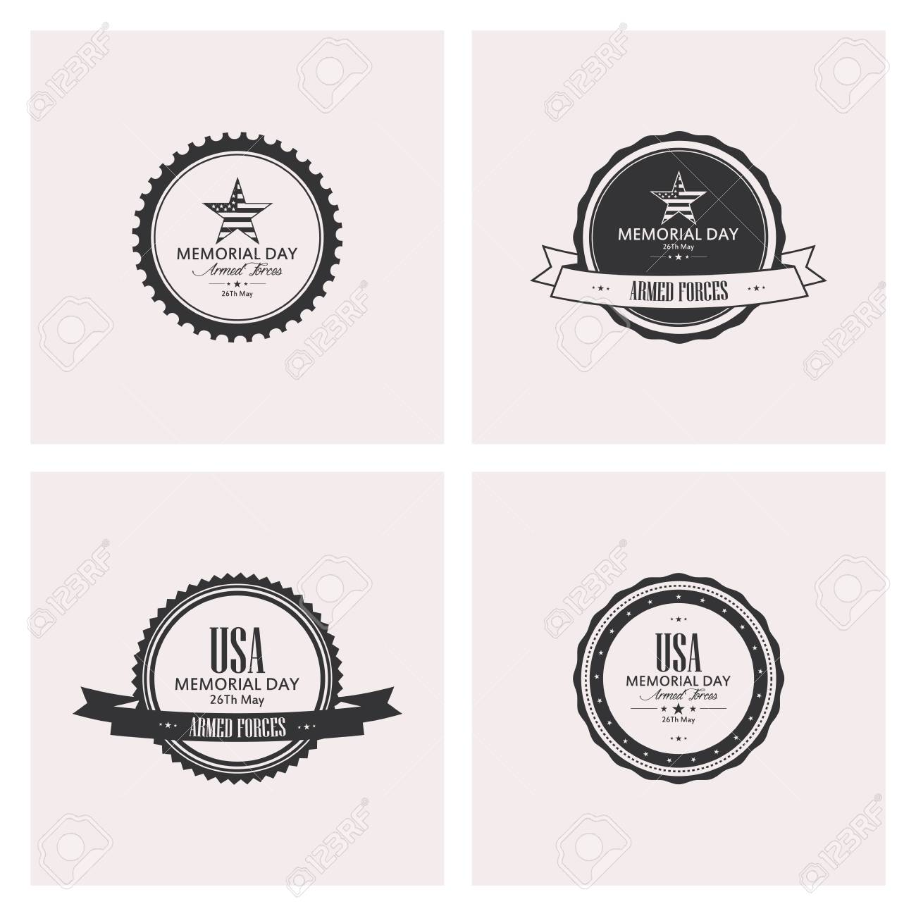 American Independence and Memorial Day Badges and Labels in ...