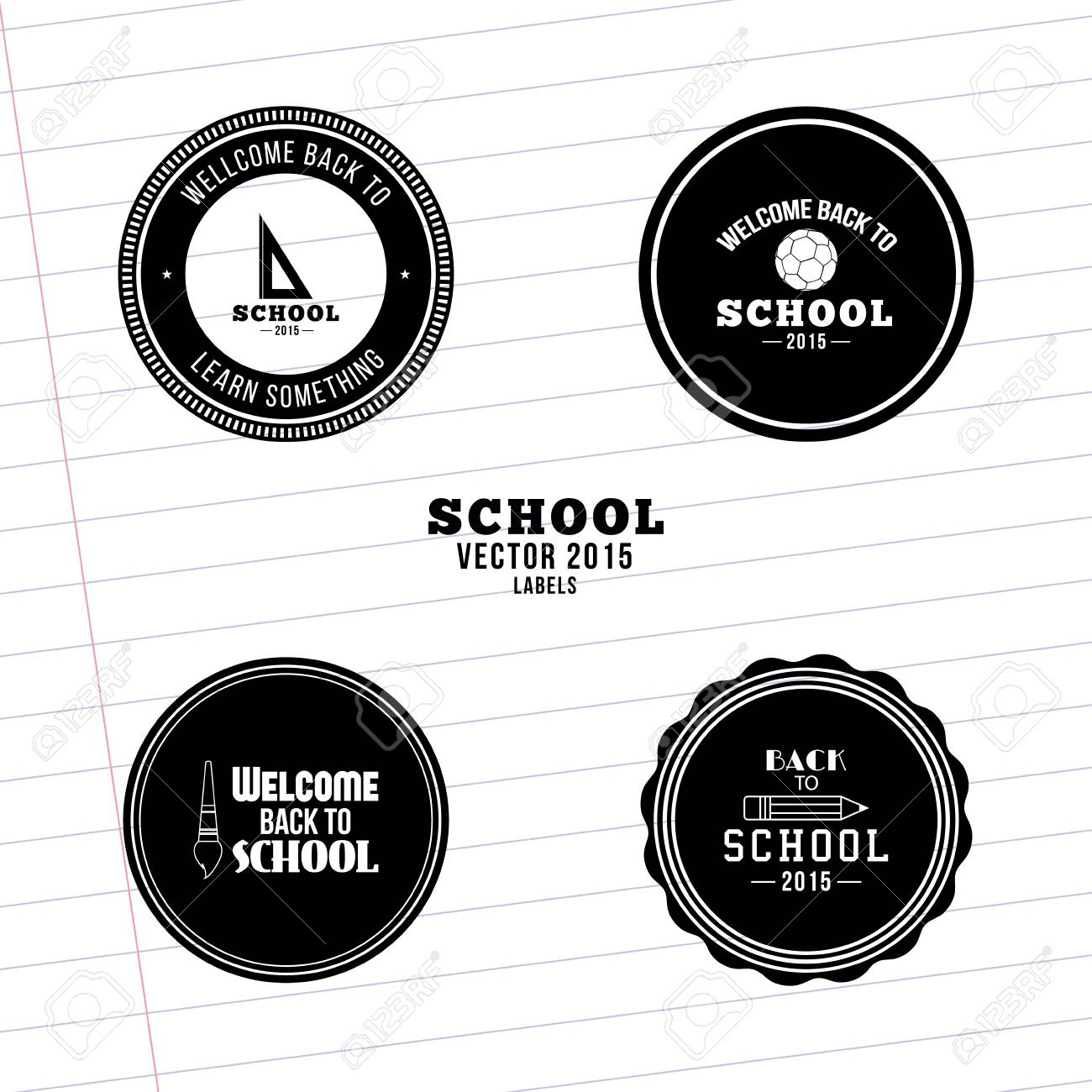 Set of labels with text and school supplies