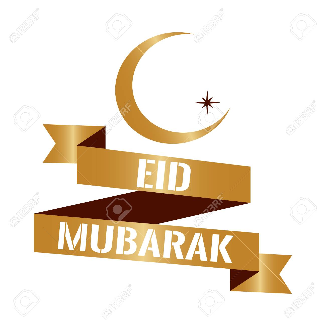 Eid Mubarak Background With Text And Moon Vector Illustration Royalty Free Cliparts Vectors And Stock Illustration Image 97710953
