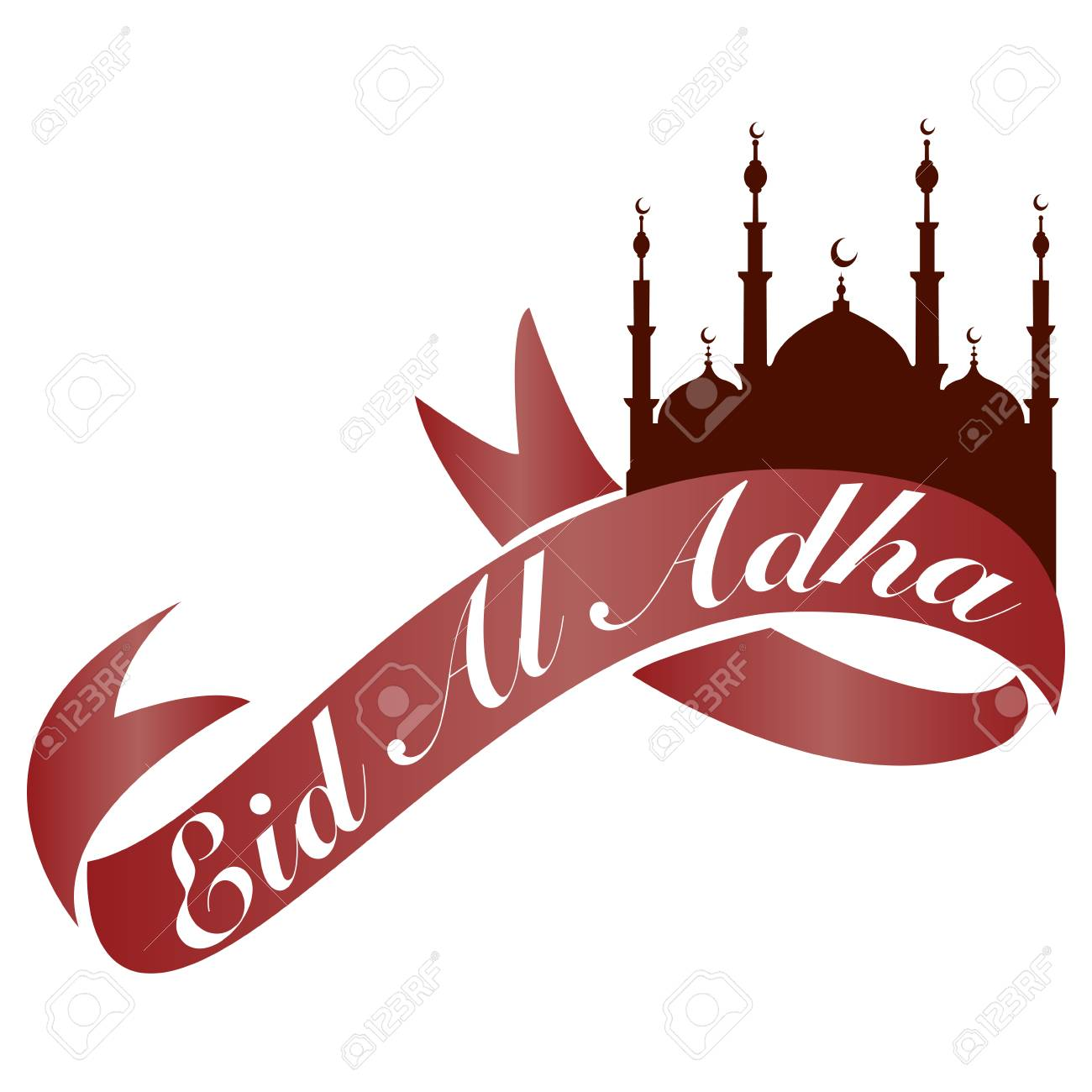 Abstract Eid Al Adha Banner With Ribbon And Mosque On White