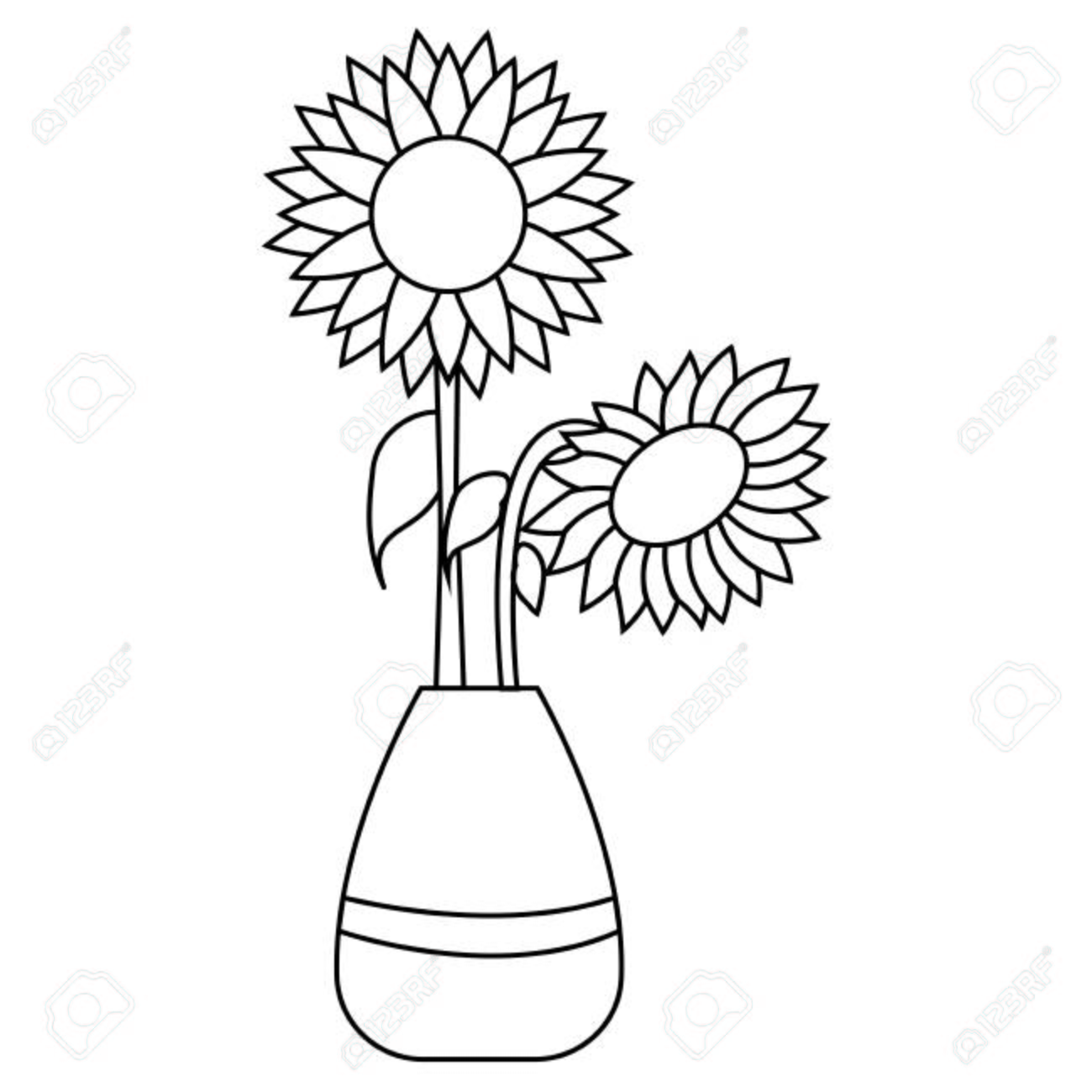 Cute Drawing Outline Sunflower Vector Illustration Design Royalty Free Cliparts Vectors And Stock Illustration Image 112561872 Pdf flower outline to print. cute drawing outline sunflower vector illustration design