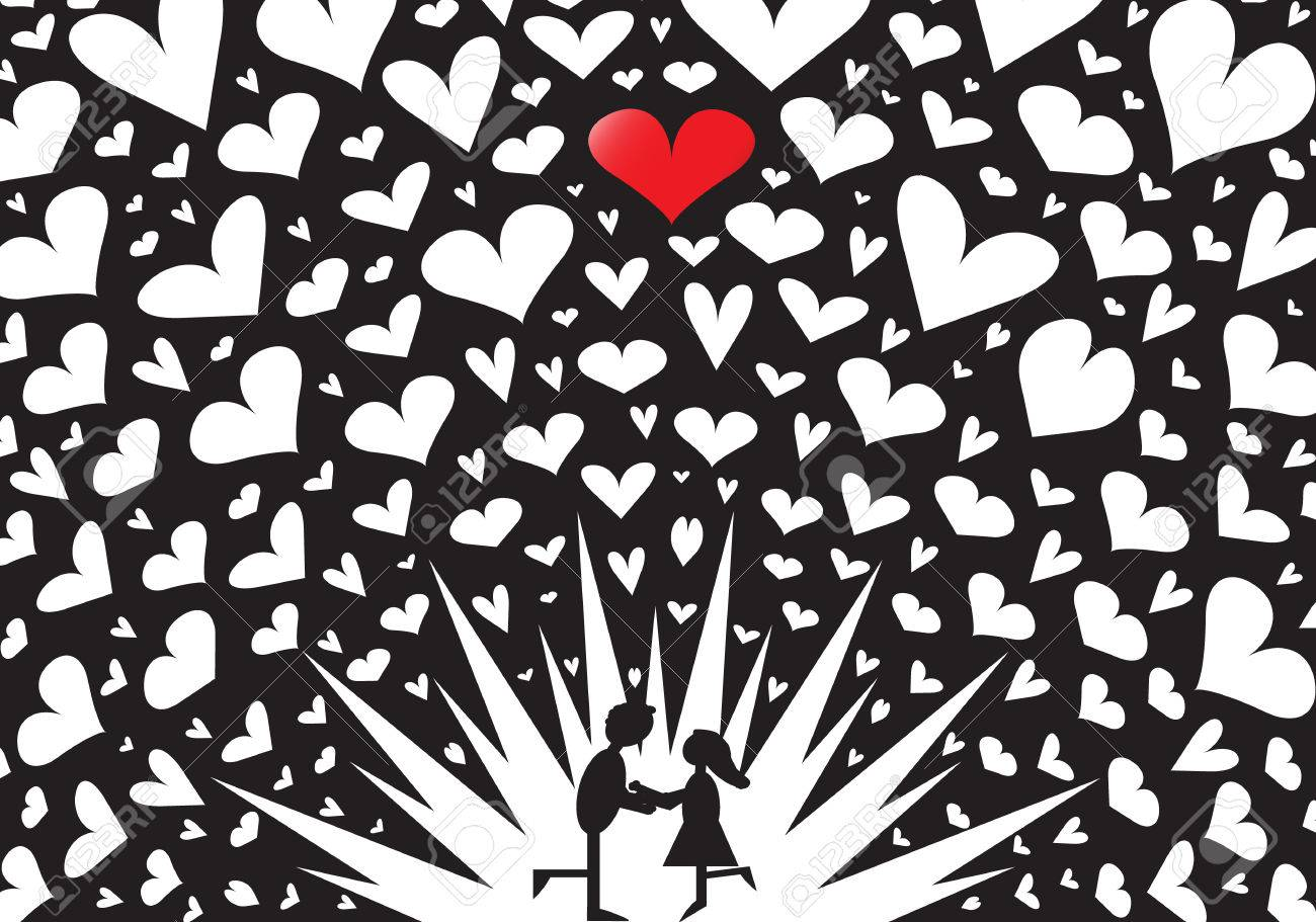 27785652-A-couple-kissing-on-a-black-and-white-exploding-hearts-background-Stock-Photo